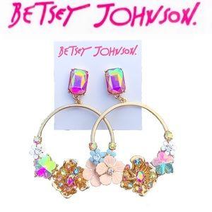 Betsey Johnson Flower Hoop Earrings